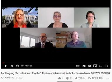 Screenshot der Podiumsdiskussion mit Harriet Langanke, Monika Egli-Alge, Barbara Haslbeck (oben v.l.n.r.), Stefan Nagel und Wolfgang Pfeffer (unten v.l.n.r.)
