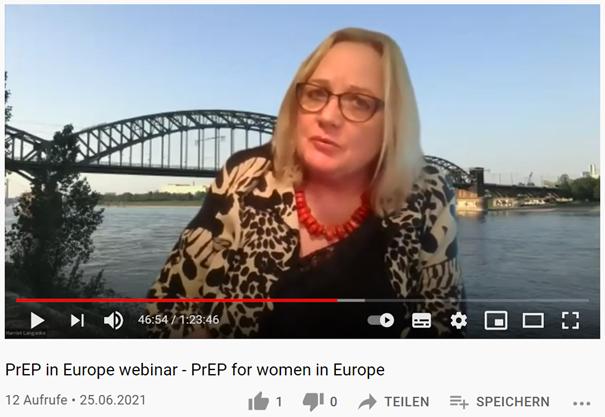 "Harriet Langanke leitet das Panel im Webinar ""PrEP for women in Europe"""